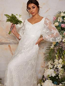 chi-chi-london-flutter-sleeve-backless-lace-bridal-wedding-dress-white