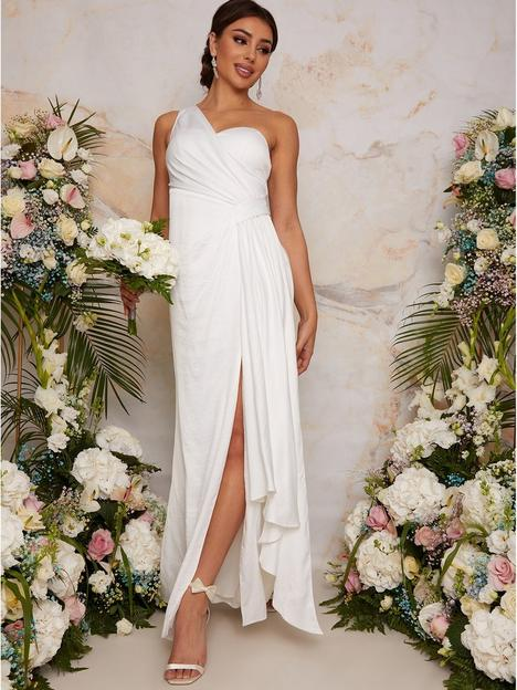 chi-chi-london-one-shoulder-satin-bridal-wedding-dress-white