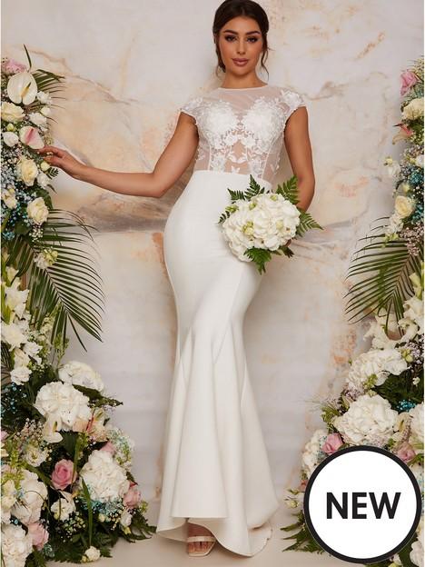 chi-chi-london-sheer-floral-lace-bridal-wedding-dress-white