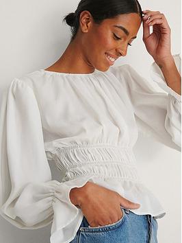 na-kd-long-sleeve-smock-waist-frill-top-white
