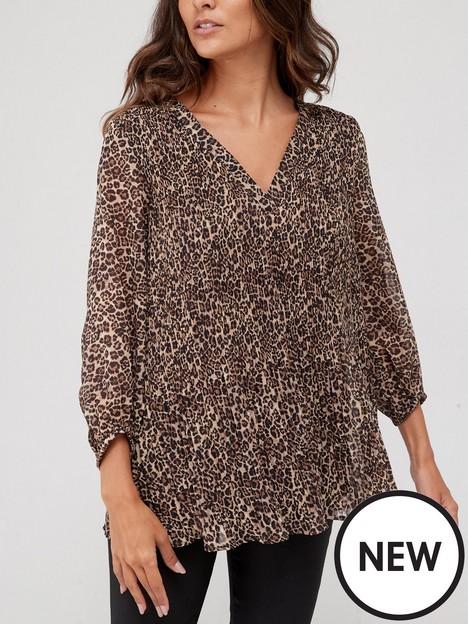 v-by-very-pleated-v-neck-blouse-animal-print