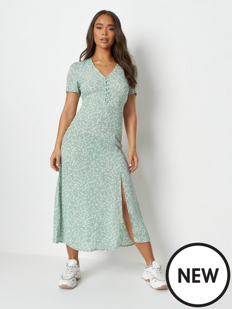 missguided-missguided-short-sleeve-half-button-midi-dress-sage-ditsy-print