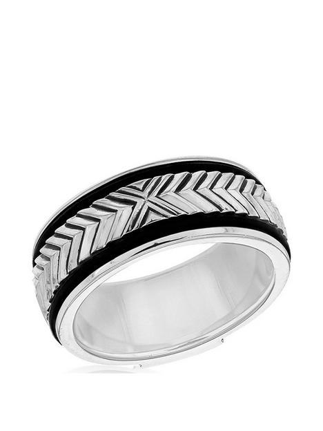 the-love-silver-collection-sterling-silver-rhodium-plated-95mm-chevron-black-leather-ring