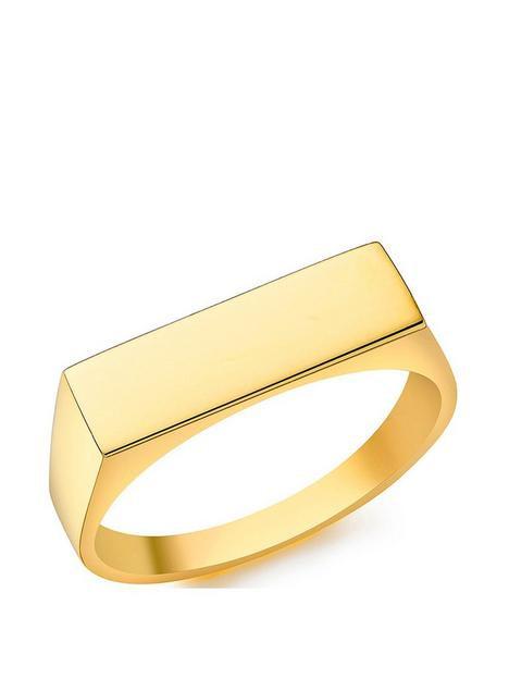 the-love-silver-collection-sterling-silver-yellow-gold-plated-155mm-x-45mm-rectangular-signet-ring