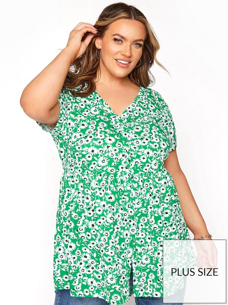 yours-button-thru-aop-tee-green-floral