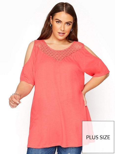 yours-lace-yoke-cold-shoulder-top--nbspcoral