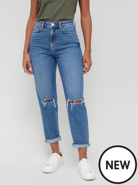 v-by-very-thenbspmomnbsphigh-waist-jean-with-knee-rips-dark-mid-washnbsp