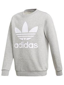 adidas-originals-junior-unisex-trefoil-crew-greywhite