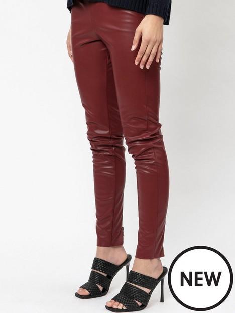 religion-zip-detail-pu-legging-dark-red