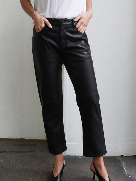 religion-faux-leather-straight-leg-trouser-black
