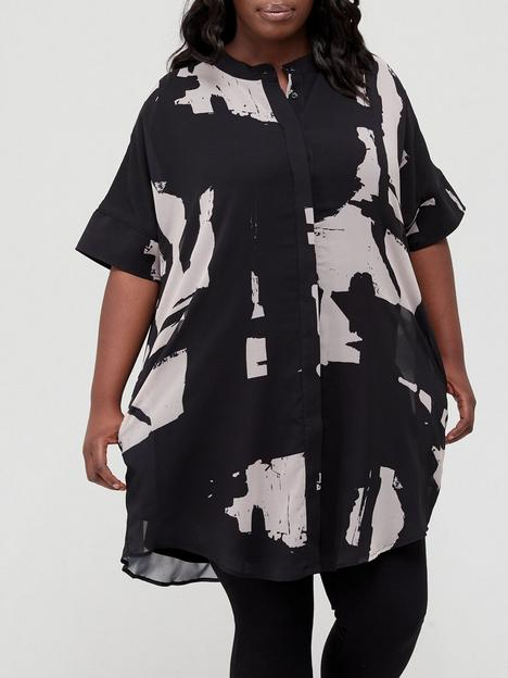 religion-plus-size-abstract-print-shirt-dress-black