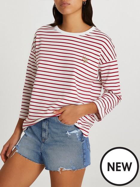 river-island-half-sleeve-stripe-chuck-on-top-red