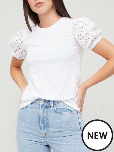 v-by-very-puff-broderienbspsleeve-tee-white