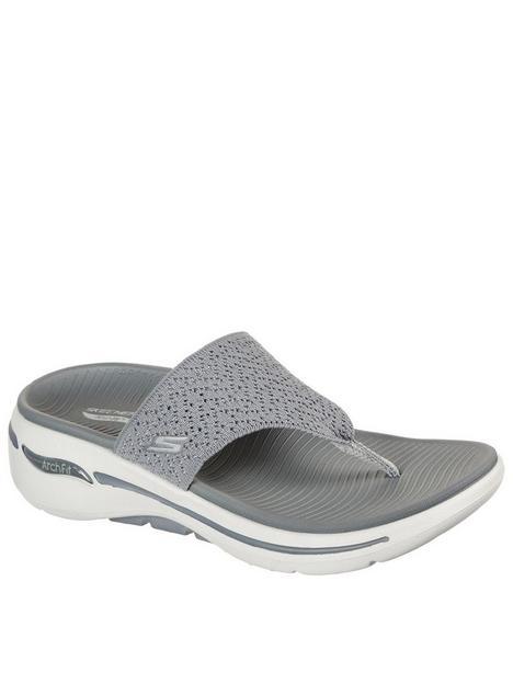 skechers-go-walk-arch-fit-knit-flip-flop-grey