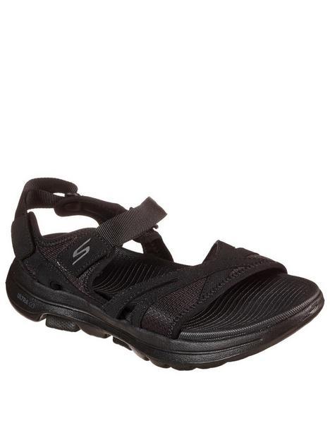 skechers-go-walk-5-mesh-quarter-flat-sandal-black