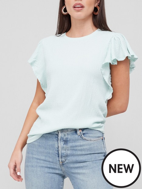 v-by-very-textured-flute-sleeve-top-blue