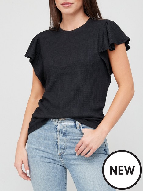 v-by-very-textured-flute-sleeve-top-black