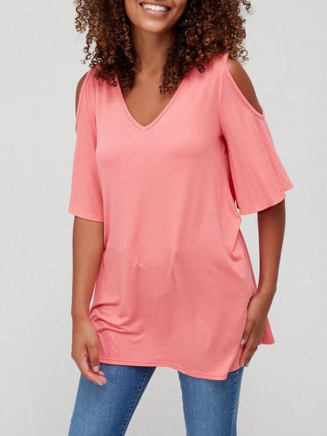 v-by-very-cold-shoulder-swing-top-coral