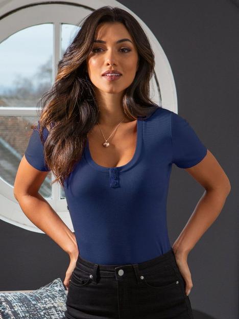 pour-moi-isla-button-front-henley-rib-t-shirt-denim-blue