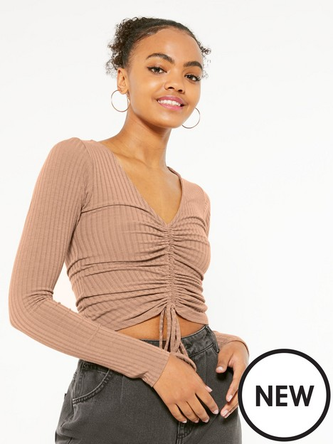 new-look-camel-ribbed-ruched-tie-front-top
