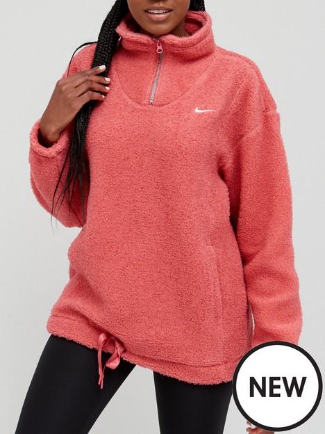 nike-training-cozy-fleece-half-zip-sweat-top-pink