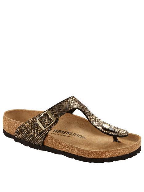 birkenstock-gizeh-shiny-pythonnbspflip-flop-black-bronze