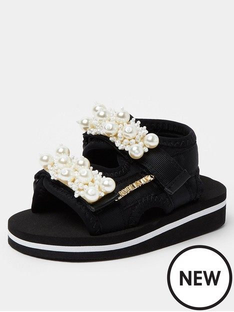river-island-mini-mini-girls-pearl-sports-sandal-black