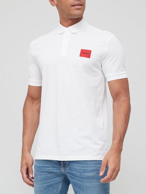 hugo-dereso-red-patch-logo-polo-shirt-white