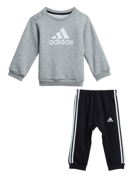 adidas-infants-unisex-badge-of-sport-crew-amp-jog-pant-set-greyblack