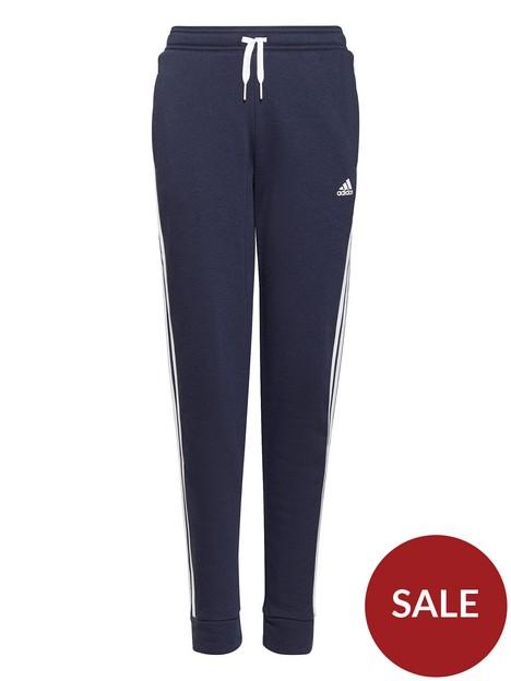 adidas-junior-girls-3-stripesnbspfleece-cuffed-pants-navywhite