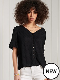 superdry-short-sleeve-lace-top-black
