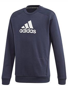 adidas-junior-boys-badge-of-sport-crew-navywhite