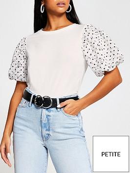 ri-petite-petite-spot-lace-puffball-sleeve-t-shirt-white