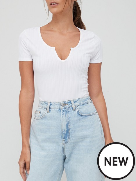 missguided-missguided-slinky-rib-notch-neck-fitted-t-shirt-white