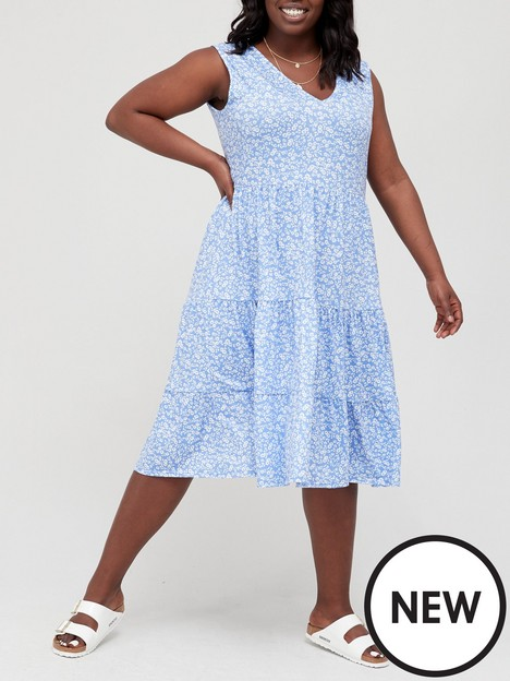 v-by-very-curve-short-sleeve-tiered-jersey-dress-blue-floral