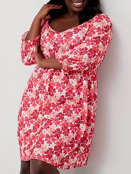 v-by-very-curve-three-quarter-sleeve-sweetheart-neck-dressnbsp--pink-floral