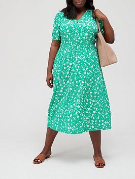 v-by-very-curve-button-through-elastic-waist-midi-dress-green-floral-print