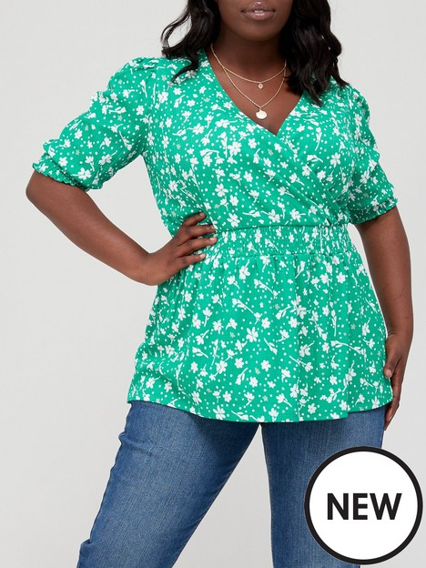 v-by-very-curve-shirred-waist-wrap-jersey-top-green-floral