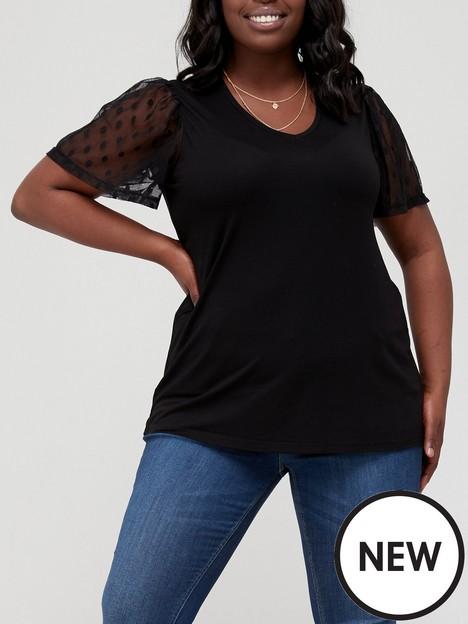 v-by-very-curve-mesh-sleeve-t-shirt-black