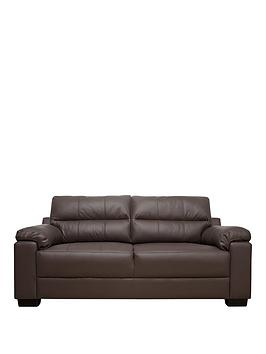 Very Saskia Leather/Real Leather 3 Seater Compact Sofa Picture