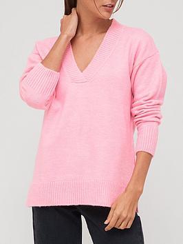 v-by-very-knitted-easy-v-neck-jumper-pink