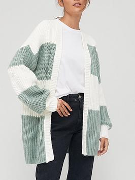 v-by-very-knitted-wide-stripe-edge-to-edge-cardigan-sageivory