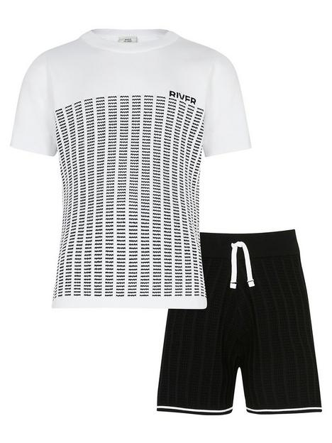 river-island-boys-knitted-tshirt-and-short-set-white