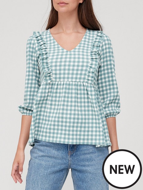 v-by-very-peplum-frill-sleeve-top-gingham