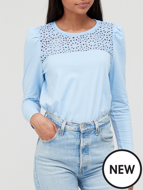v-by-very-lace-yoke-puff-sleeve-top-blue