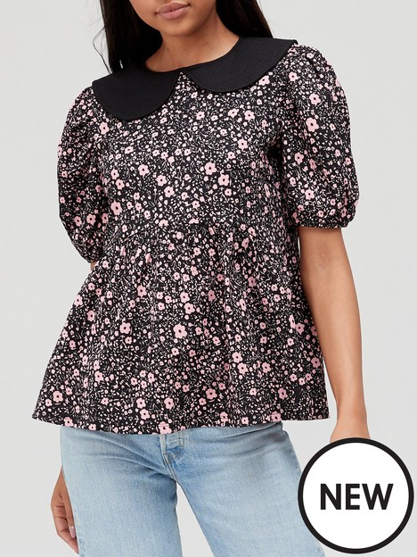 v-by-very-printed-collar-detail-top-floral-print
