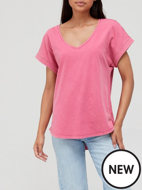 v-by-very-acid-wash-loose-v-neck-t-shirt-pink