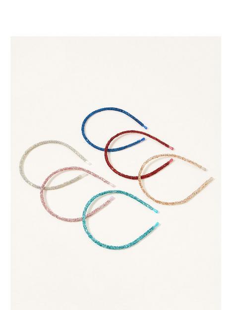 monsoon-girls-6-pack-rainbow-glitter-hairbands-multi