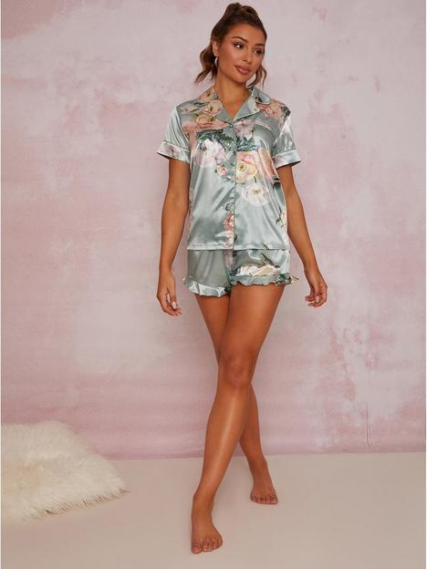 chi-chi-london-floral-print-pyjama-short-set-green