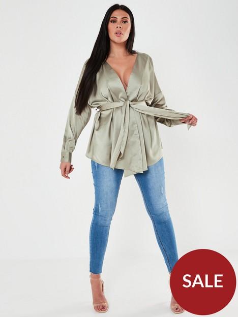 missguided-plus-missguided-plus-oversized-satin-tie-waist-blouse-sage